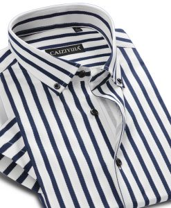 Brand New Classic Striped Shirt Men Casual Cotton Short Sleeve Fashion Formal Business Party Male Dress Shirt 4XL