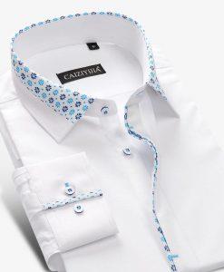 Brand Men Floral White Shirt Men Dress Shirt Long Sleeve Cotton Casual Slim Fit